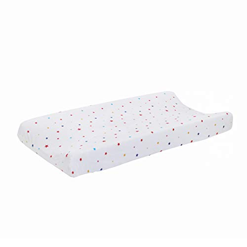 ED Ellen DeGeneres Doodle Dog - Changing Pad Cover, Multi Star Print, Ivory, Royal, Red, Yellow