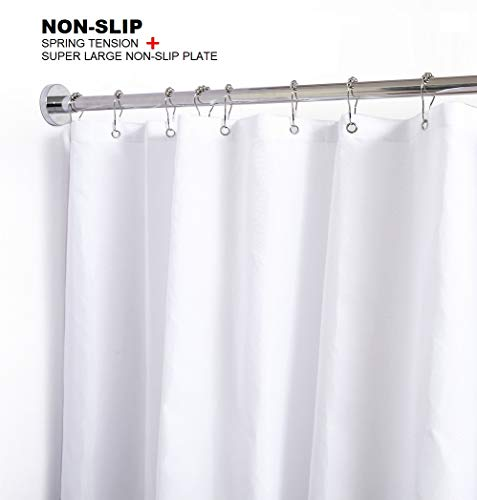 BRIOFOX Shower Curtain Rods 42-72 Inches, Rust Free + Non-Fall Down, 304 Stainless Steel, Super Large Non-Slip Plate Spring Shower Rod, Use in Bathroom, Kitchen, Home, Never Collapse, No Drilling