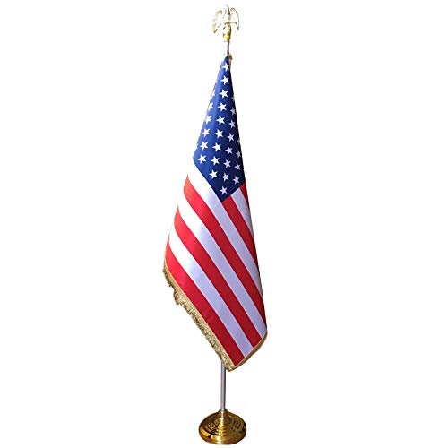 - IrisUSA 8 FT Presidential Formal Indoor US Flag for office, School, and Auditorium with Pole Stand & Eagle Ornament