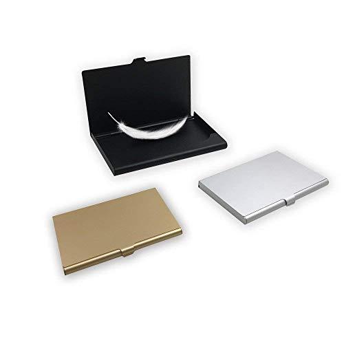 Aluminum Business Card Case, SourceTon 3 Packs Super Slim Name Card Holder, Business Card Organizer for Holding 13 - 18 Name Cards - Black, Silver and Light Golden