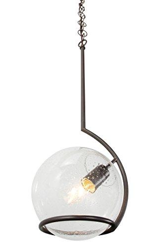 Varaluz 243M01MB Watson 1-Light Mini Pendant - Metallic Bronze Finish with Clear Seedy Recycled Glass