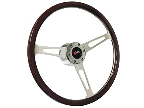 1969-1994 Chevy S6 Classic Espresso Stained Wood Steering Wheel Chrome Kit | Cross Flags