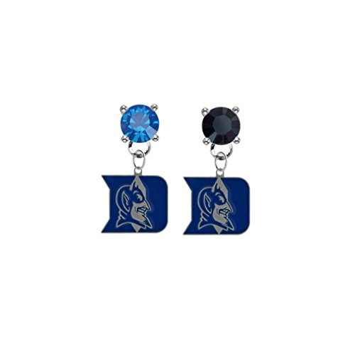 Duke Blue Devils Blue & Black Crystal Stud Post Dangle Earrings (Blue Womens Duke Devils Watch)