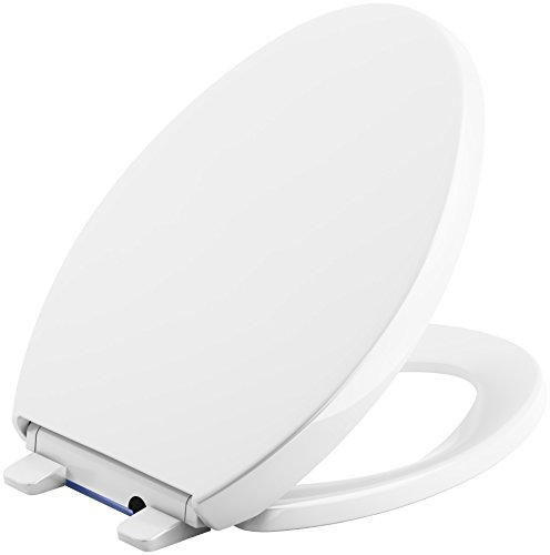 KOHLER 75792-0 Reveal Nightlight Quiet-Close with Grip-Tight Elongated-Front Toilet Seat, White