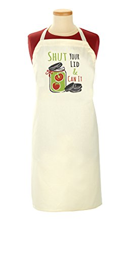 (Ritz Canning Collection Adjustable Funny Printed Bib Apron, Shut Your Lid and Can It)