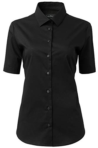 HORSE SECRET Womens Dress Shirts and Blouses for Work Black Button Down Shirts Size - Short Shirt Button Sleeved Down