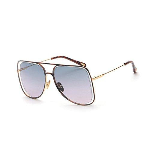 Blue de gafas sol de G cuadradas tonos salida Sunglasses Lens enormes sol plata C6 de espejo UV443 señoras Pink Cuadro C4 hueco Gafas TL de unas gafas mujer q4EP8zzx