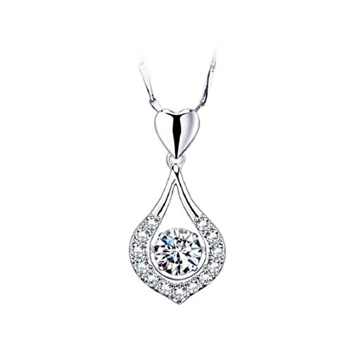 Vacally Elegant Charming Glittering Heart Drop Stone Necklace Shining Crystal Female Pendant Necklace Wedding Bride Gorgeous Jewelry
