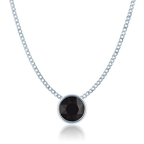 Ed Heart Small Pendant Necklace with Black Jet Round Crystals from Swarovski Silver Toned Rhodium Plated