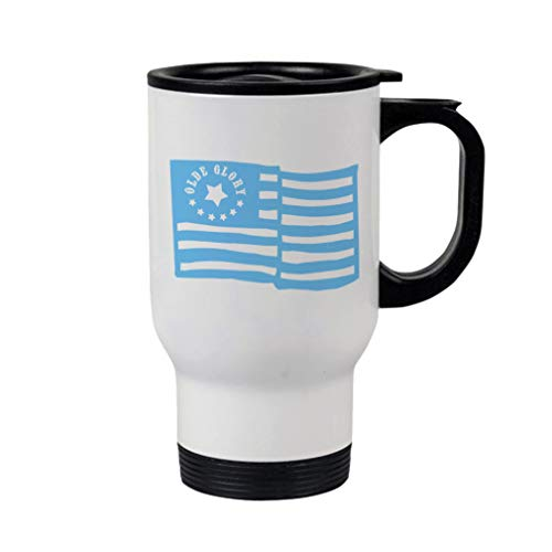 - Style In Print Light Blue Old Glory American Flag Steel Travel Mug - White