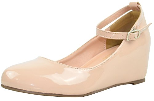 Chase & Chloe Womens Strappy Mary Jane Wedge Platform Pump Nude Pat HK39R