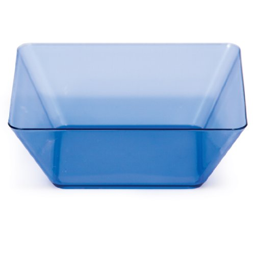 Creative Converting 4 Count Square Plastic Bowls, 5-Inch, Translucent Blue