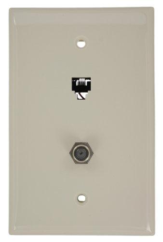 Leviton 40539-CMT Midsize Telephone/Video Wall Jack, 6P4C X F, Light Almond