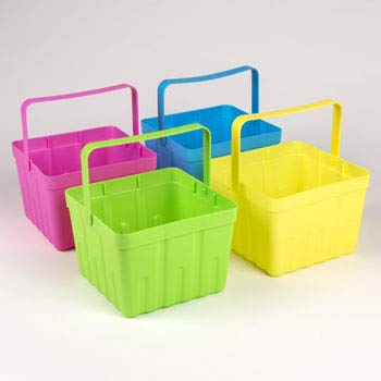 Easter Berry Basket - 4Ct Plastic Pastel Colors Summer Berry/Fruit Baskets with Handle (6.25