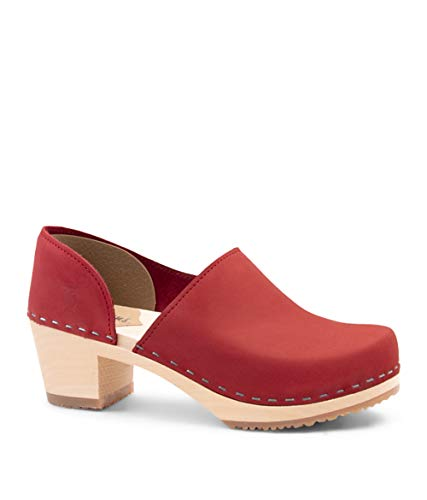 Sandgrens Swedish High Heel Wooden Clogs for Women | Brett Red, EU 37