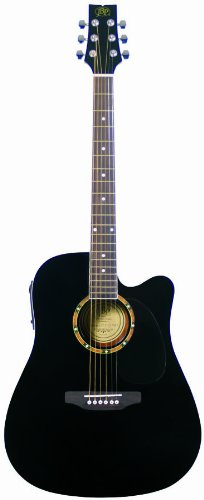 JB Player JBEA25BK Acoustic Electric Guitar, Black