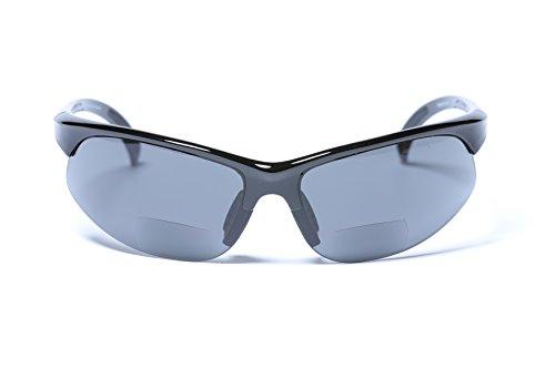 Mens Sunglasses with Bifocal Reading Lens Half Rim Sports Fashion (Black, - Sunglasses 1.25