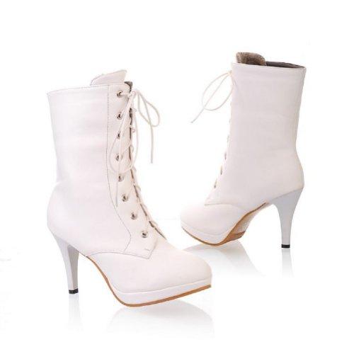 Womens High Heel Platform Snow Foot Charm Winter Fashion fur Top Boots Boots Faux White High qCIYFqawx