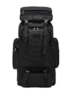 80L Oxford Cloth Outdoor Large Capacity Tactical Backpack Double Shoulder Mountaineering Bag Travel Bag (Black)
