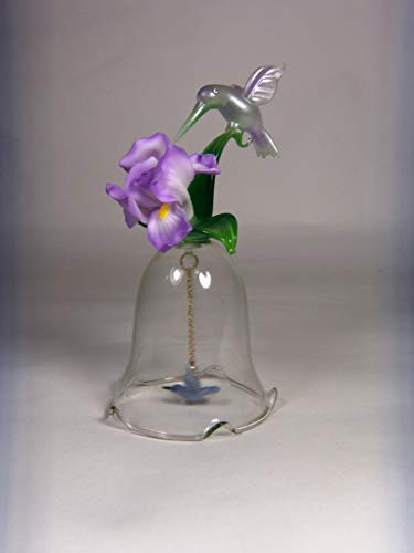 "Cosmos Gifts Fine Elegant Glass Hummingbird with Porcelain Iris Flower Glass Bell Figurine, 5-1/4"" H"