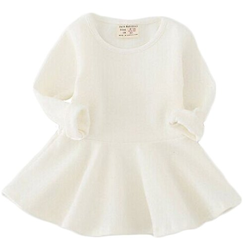 EGELEXY Baby Girls' Long Sleeve Cotton Ruffle Top Dress 12-1