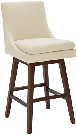 Stone Beam Alaina Contemporary High-Back, Swivel Seat Barstool, 43 H, Beige