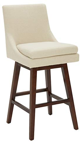 Stone Beam Alaina Contemporary High-Back, Swivel Seat Barstool, 43 H, Beige
