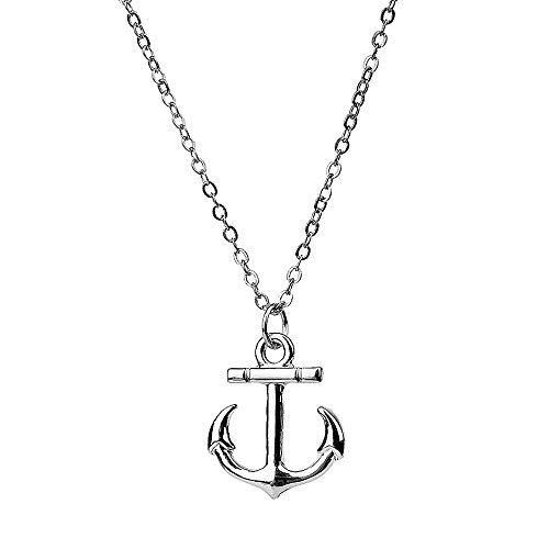 NC079 Cute Sliver Little Boat Anchor Charm Pendant Necklace