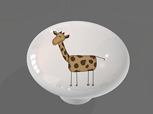 Funny Giraffe High Gloss Ceramic Drawer Knob