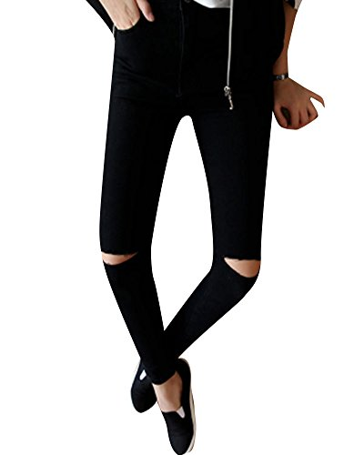 Pantalons Femme Denim Printemps Jeans Slim Taille Haute Leggings Collant Crayon Dchirs Noir 2