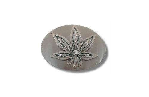 Marijuana Hemp Leaf Oval Belt Buckle with Green Rhinestones Belt Buckle