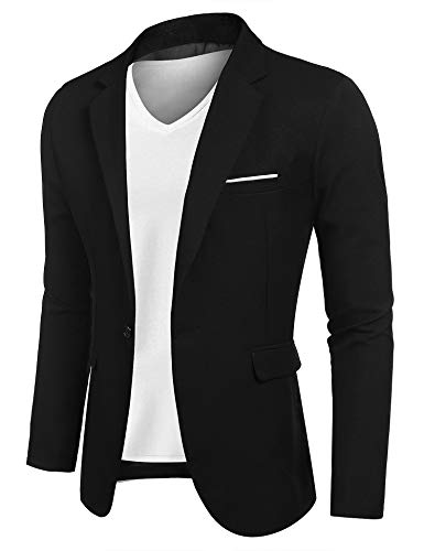 JINIDUMen'sCasualSportsCoatsOneButton Smart Slim Fit Suit Blazer Jacket Black