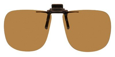 Polarized Clip-on Flip-up Plastic Sunglasses - Square - 60mm Wide X 54mm High (136mm Wide) - Polarized Brown Lenses - Shade Control - Flip Clip Plastic Polarized Sunglasses On Up