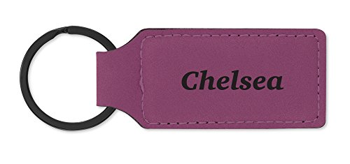 Leatherette Key Chain Ring Laser Engraved Various Names - Chelsea Chain