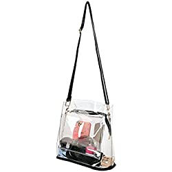 SharPlus PVC Transparent Clear Cross Body Bag Shoulder Purse For Women,NFL Stadium Approved Handbag With Black Adjustable Fabric Strap