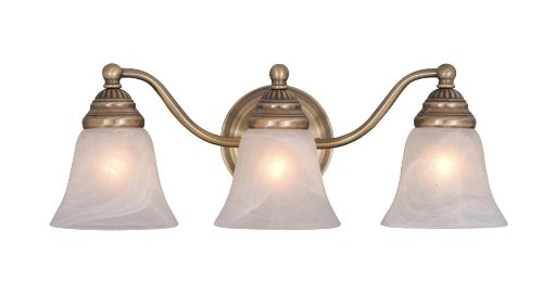 (Vaxcel VL35123A Standford 3 Light Vanity Light, Antique Brass Finish)
