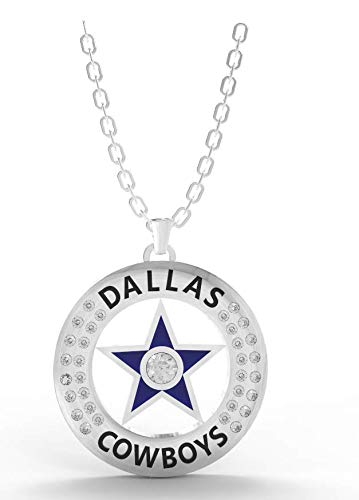 LEMOISTARS. NFL Team Logo Diamond Polished Pendant Necklace Sterling Silver (Dallas Cowboys)