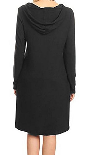 Solid Basic Dresses Comfy Hood Black Women Evening Swing Pockets Classic tBtqO6wP