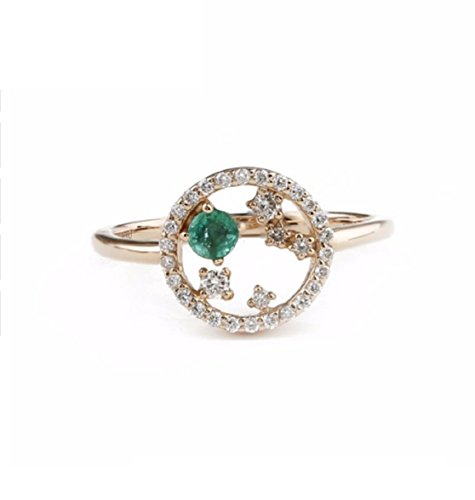 GOWE Round Cut 0.1CT Natural Emerald Gemstone Halo Diamond Accents Party 18k Rose Gold (Ct 0.1 Gemstones)