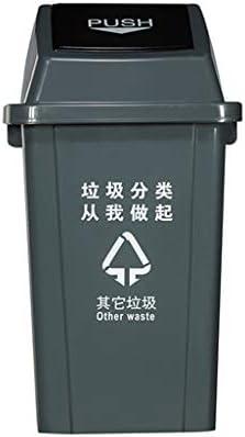 XINGZHE ゴミ箱 - 蓋のプラスチックゴミ箱で大容量屋外レストランの台所は、ゴミ箱の容量を分類することができます ごみ箱 (色 : B)