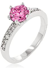 Rhodium Plated Engagement Ring with Round Cut Pink Ice Center CZ and Clear CZ and Milligrain Accents