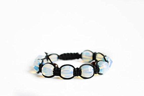 JP_Beads Opalite shamballa Bracelet, Opal Moonstone shamballa Bracelet, Stone Meaning Bracelet, Protective opalite Bracelet, Blue Adjustable Bracelet 10mm