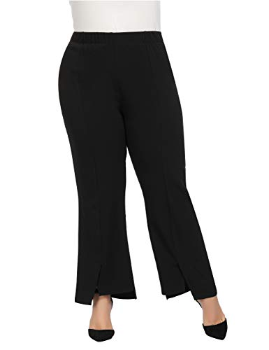 Chicwe Women's Plus Size Texture Stretch Work Pants - Casual Pants with Split Hem Black 16