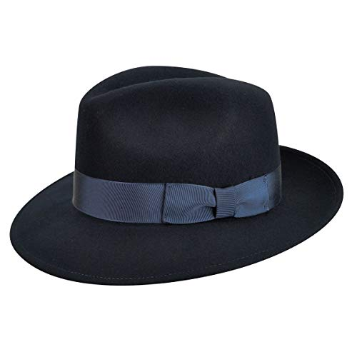 Country Gentleman Men's Frederick Wide Brim Fedora Hat, Navy, ()