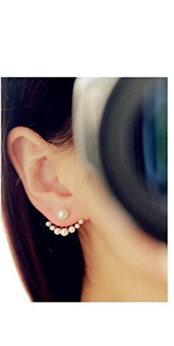 Latest Fashion- Front and Back Pearl Bead Earrings - Sizable