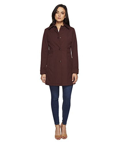 Kenneth Cole New York Women's Single Breasted Raincoat Burgundy Outerwear