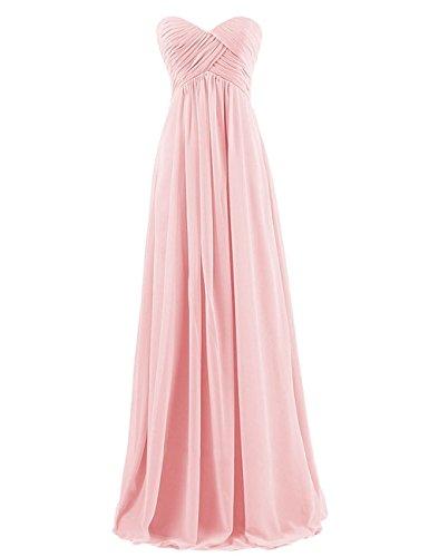 Abendkleider Party Lange Pink Kleider Kleid Chiffon Kleid Damen Kleid Trägerlos Brautjungfer Brautjungfern CoCogirls formale Festkleider fBaOva