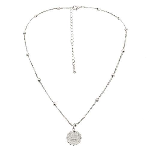 Horoscope Necklace Constellation Zodiac Beaded Choker Collarbone Chain Medallion Astrology Round Clavicle Necklace Beads Pendants Women Girls Birthday Gift Charms Jewelry Gemini Silver Plated