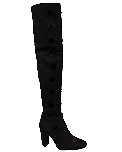 High Black Stretchy Pom de rodilla de gamuza Bloque mujer Zip sintética Up la talones Botas Pom sobre Zapatos los Uf14Txqx