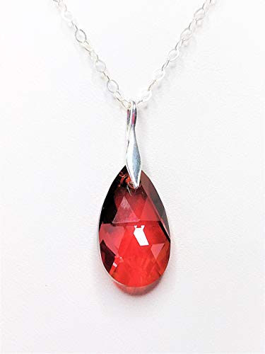 Handmade Ruby Red Swarovski Teardrop Crystal Sterling Silver Pendant by LynnsGemCreation